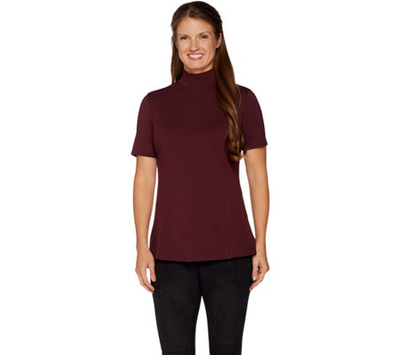 H by Halston VIP Ponte Short Sleeve Turtleneck Top