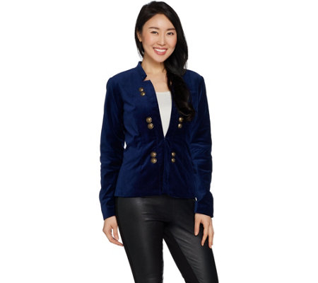 Du Jour Stretch Velvet Blazer with Front Button Detail