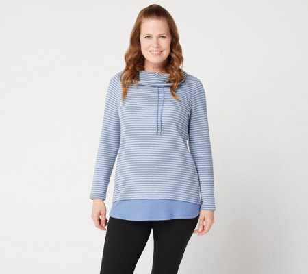 Denim & Co. Active Heather Grey Striped Waffle Knit Pullover