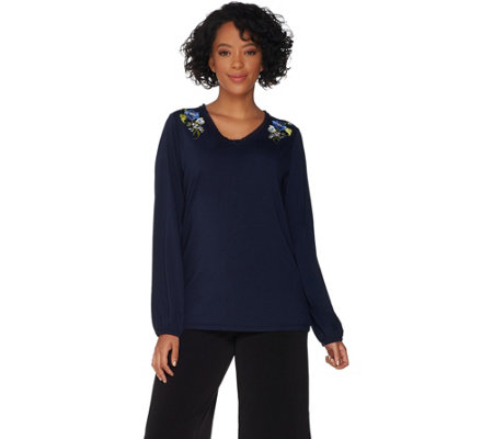 Susan Graver Weekend Stretch Cotton Modal Top w/ Embroidery