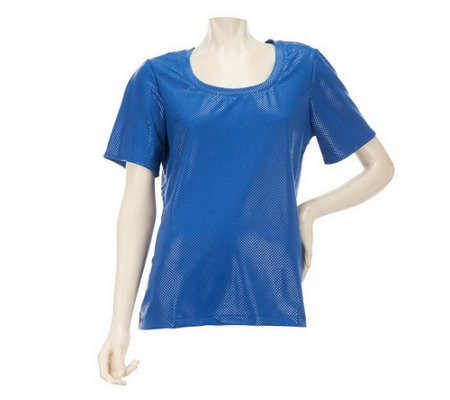 """As Is"" Susan Graver Textured Knit U-neck Top with Short Sleeves"
