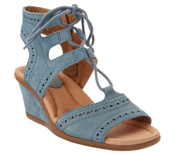 35cec84235e Earth Leather Lace-up Peep-Toe Wedge Sandals - Daffodil - A304212