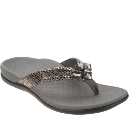 Vionic Embellished Leather Thong Sandals - Tide Jewel