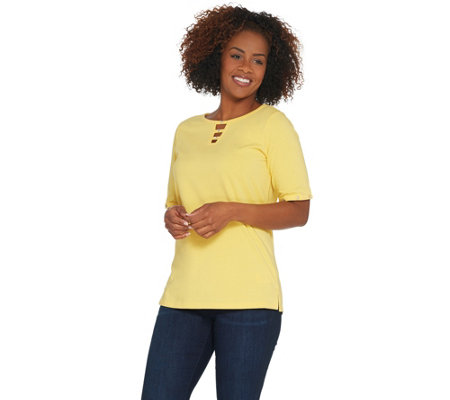 Quacker Factory Elbow-Sleeve Knit T-Shirt with Bling Detail