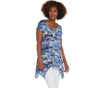eb7b2be06dea9 Attitudes by Renee Como Jersey Printed Handkerchief Hem Tunic - A308812