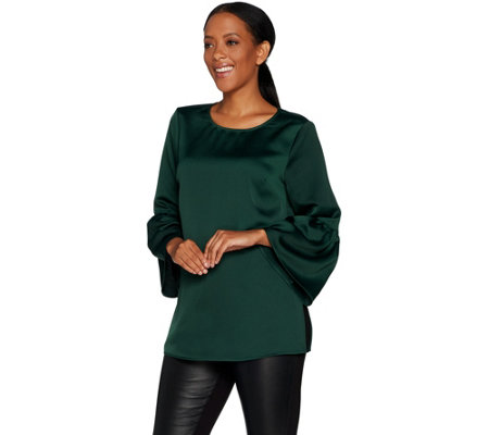 """As Is"" Du Jour Bell Sleeve Tunic with Back Keyhole Detail"