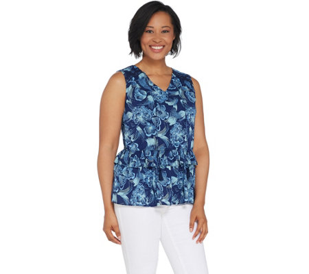 Du Jour Printed Sleeveless Top with Ruffle Hem