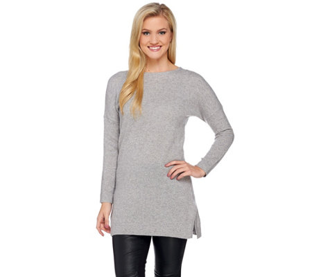 """As Is"" Isaac Mizrahi Live! 2-Ply Cashmere Pullover Tunic Sweater"