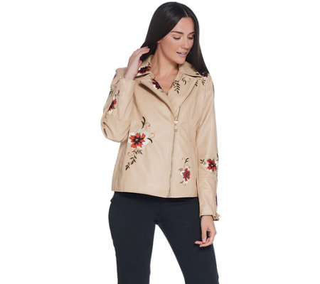 Dennis Basso Madison Avenue Faux Leather Embroidered Moto Jacket