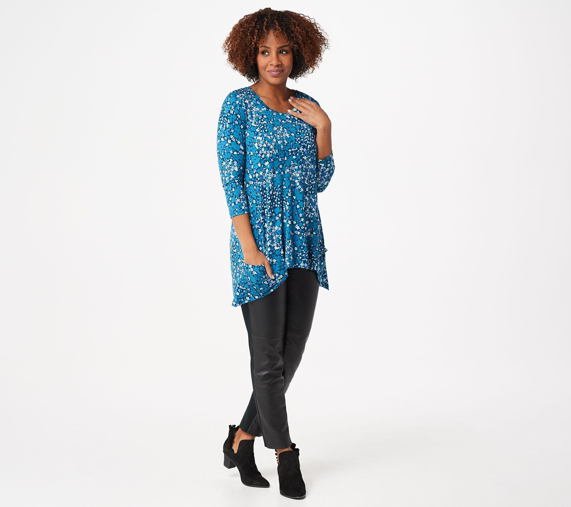 LOGO Lori Goldstein Coal Grey Cotton Slub Oversized S//S Tee Knit Top Slits New