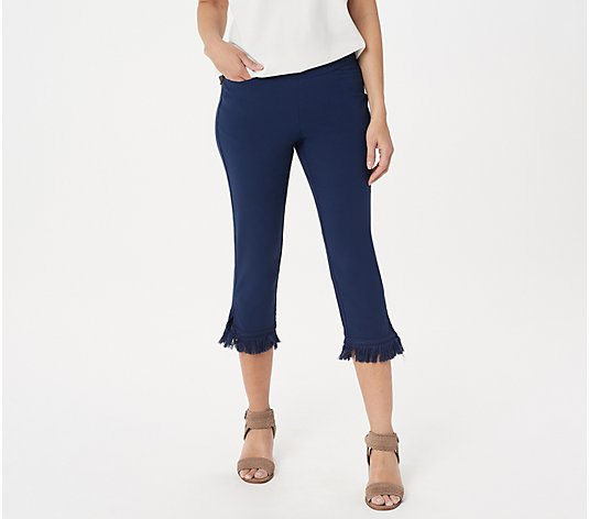 Belle by Kim Gravel Citi Twill Cropped Pants w/ Fringe Trim