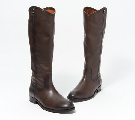 hot sales great fit new arrival Frye Wide Calf Leather Tall Boots - Melissa Button2 - Page 1 — QVC.com