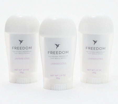 Freedom Natural Deodorant Set of 3 Large Sticks