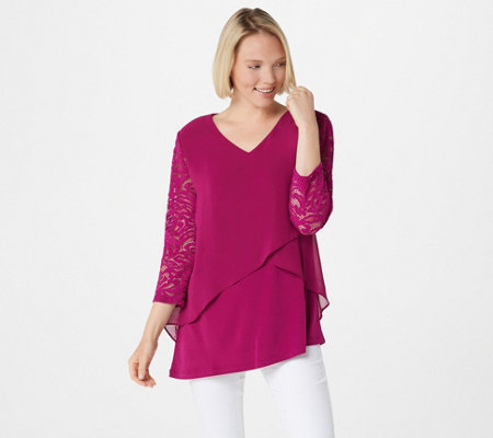 """As Is"" Susan Graver Liquid Knit Tunic with Chiffon Tiers & Lace Sleeves"