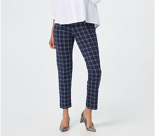 Joan Rivers Petite Signature Ponte Printed Ankle Pants