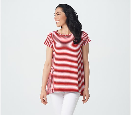 Lisa Rinna Collection Short Sleeve Striped Top with Hi-Low Hem