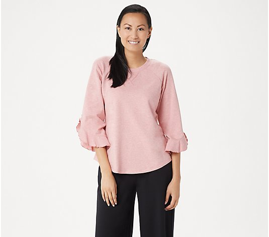 """As Is"" Lisa Rinna Collection Sweatshirt with Sleeve Detail"