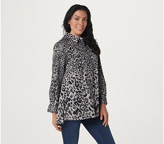 Isaac Mizrahi Live! Engineered Leopard Print Woven Shirt