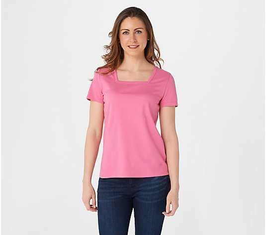 """As Is"" Isaac Mizrahi Live! Essentials Pima Cotton Square Neck T-Shirt"