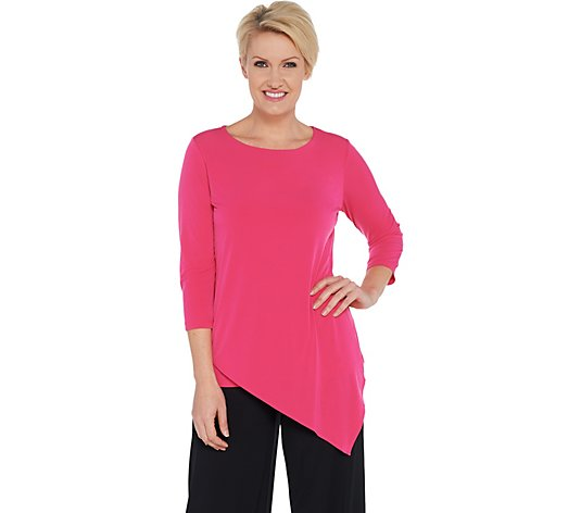 """As Is"" Every Day by Susan Graver Liquid Knit Asymmetric Hem Top"