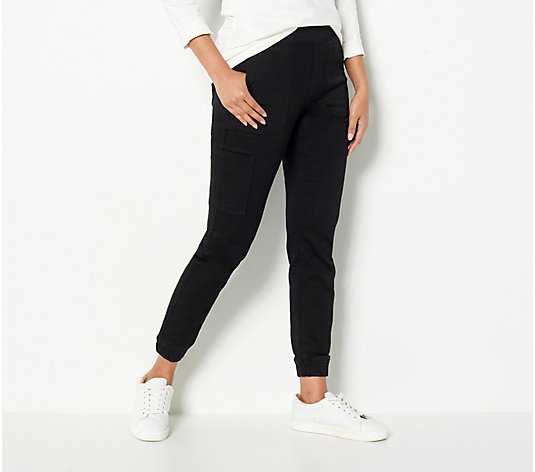 Denim & Co. Petite Comfy Knit Denim Cargo Jogger