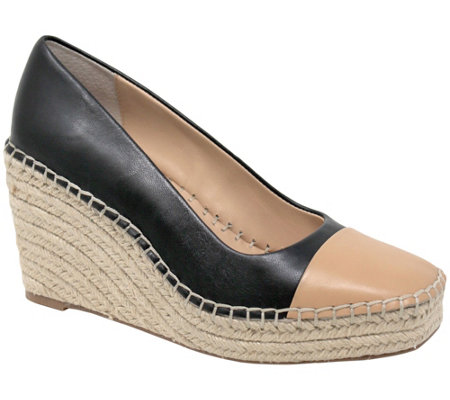 Charles David Leather Closed Toe Espadrill Wedges - Glider