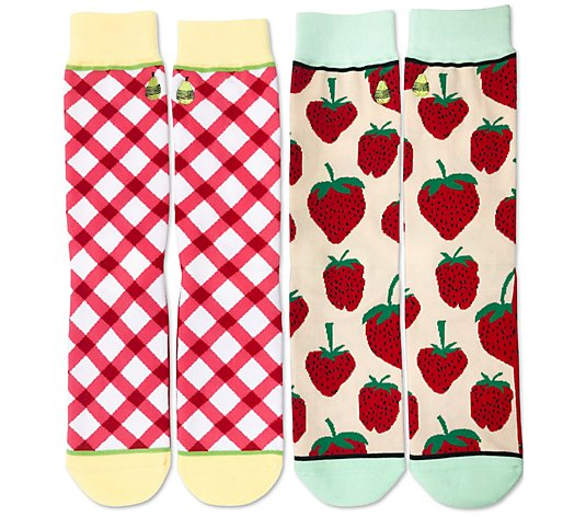 Woven Pear Strawberry Fields, Picnic Crew Socks- 2 Pack