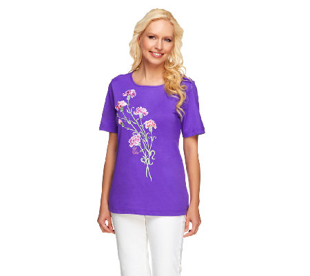 Bob Mackie's Floral Embroidered Knit T-Shirt