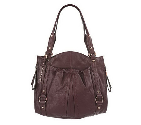 B Makowsky Glove Leather Pocket Tote With Topsch Detail