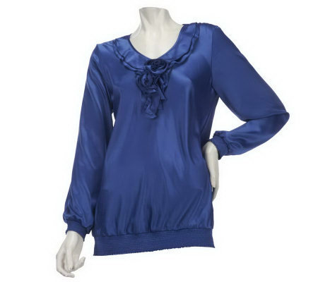 Susan Graver Charmeuse Blouse with Ruffle Neckline & Long Sleeves