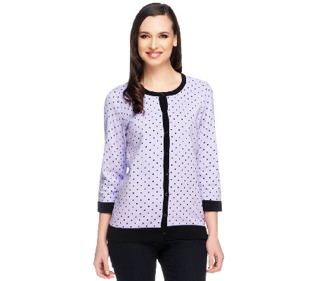 Denim & Co. 3/4 Sleeve Button Front Dot Print Cardigan