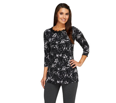Susan Graver Printed Liquid Knit Top w/ Embellished Neckline