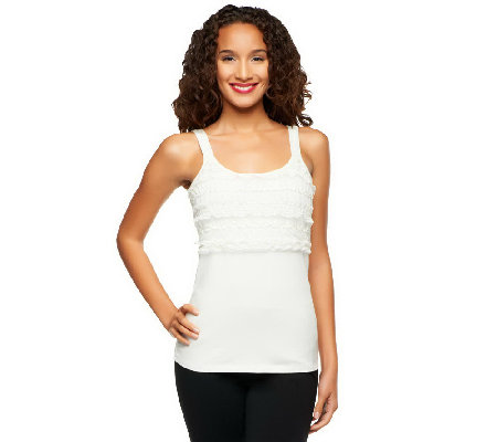 """As Is"" Kathleen Kirkwood Stretch Cotton Tank w/Lace"