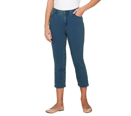 Denim & Co. Petite Comfy Knit Denim 5-Pocket Crop Jeans