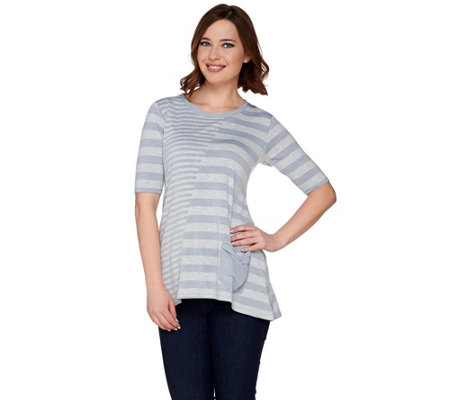 LOGO by Lori Goldstein Mixed Striped Sweater Knit Top w/ Chiffon