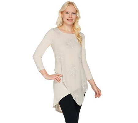 LOGO Lavish by Lori Goldstein Knit Top with Asymmetric Hem and Embroidery