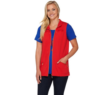 Quacker Factory Zip Front Vest and Short Sleeve T-shirt Set