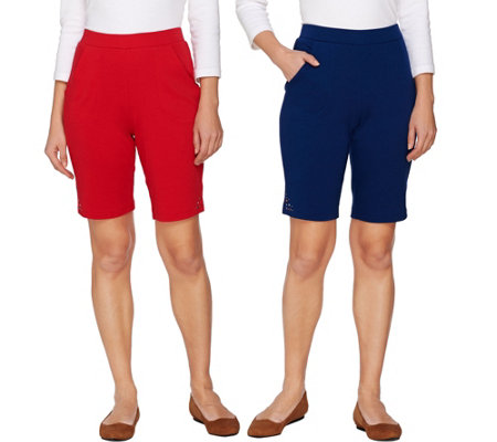 Quacker Factory Set of 2 Pull-On Knit Shorts