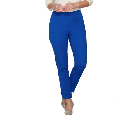 Isaac Mizrahi Live! Petite 24/7 Stretch Ankle Pants w/ Zipper Detail