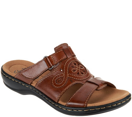 Clarks Leather Adjustable Slide Sandals - Leisa Higley