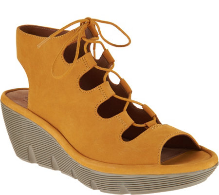81bd56506 Clarks Artisan Leather Ghillie Wedge Sandals - Clarene Grace - Page ...