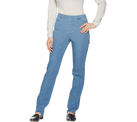 """As Is"" Isaac Mizrahi Live! Petite 24/7 Denim Straight Leg Jeans"