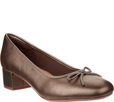 Clarks Leather or Suede Low Heel Pumps- Chartli Daisy
