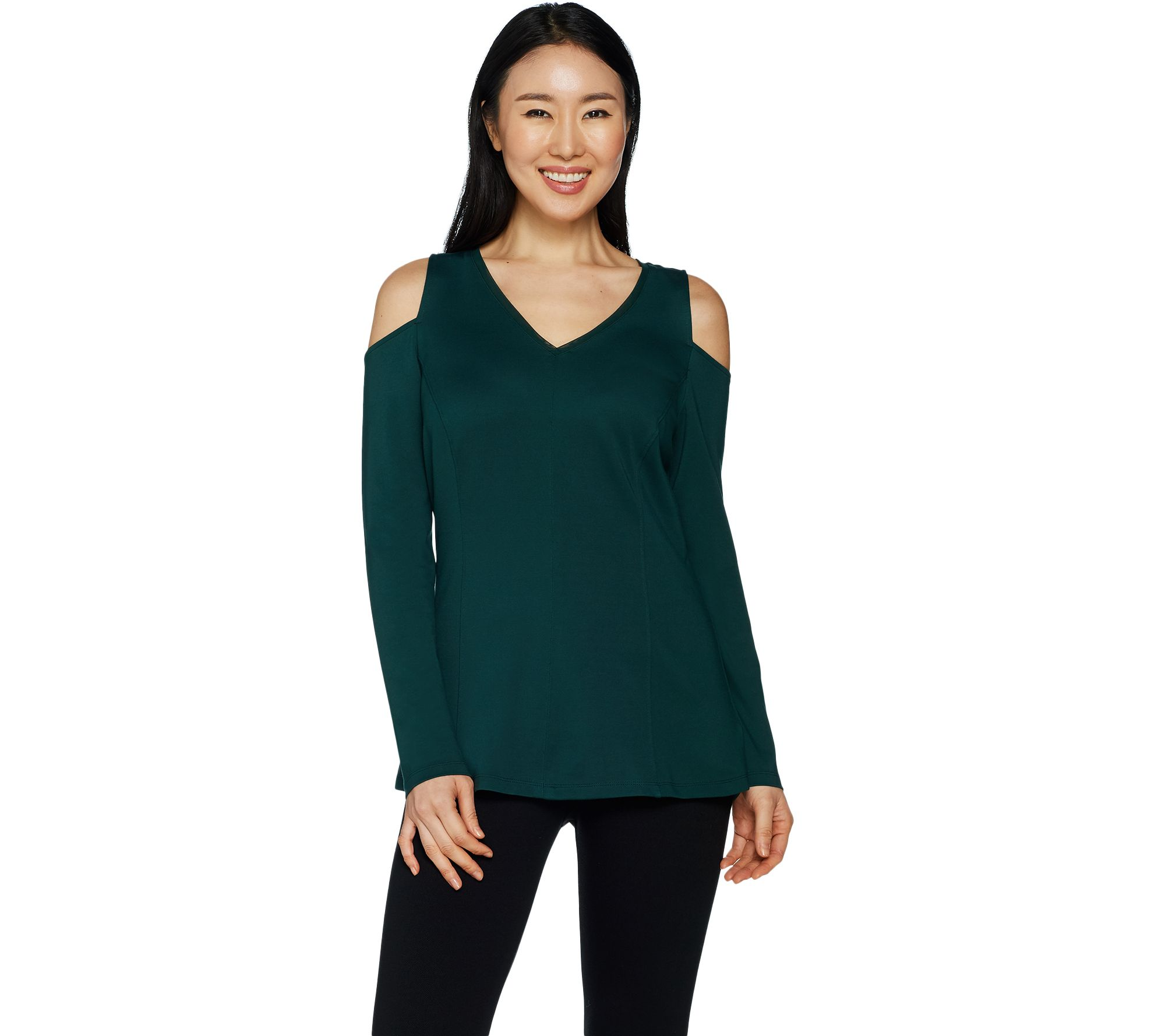 0e09188fbea https   www.qvc.com H-by-Halston-VIP-Ponte-V-neck-Cold-Shoulder -Top.product.A296713.html