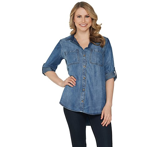 Side Stitch Tencera Button Front Long Sleeve Roll-Tab Top