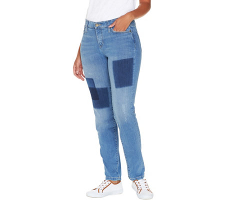Isaac Mizrahi Live! Petite TRUE DENIM Removed Patch Jeans
