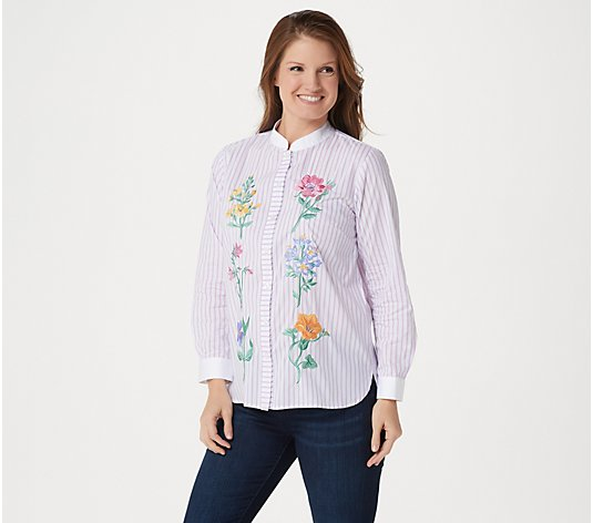 Bob Mackie Floral Embroidered Button Front Shirt