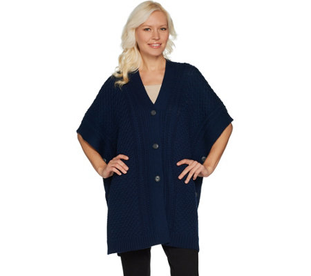 Martha Stewart Merino Wool Cable Knit Button Front Poncho