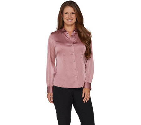 """As Is"" Dennis Basso Stretch Button Front Blouse"