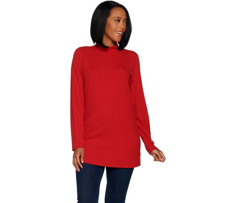 """As Is"" Denim & Co. Essentials Ribbed Knit Long Sleeve Mock Neck Tunic"